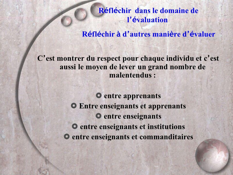 Des définitions  É VALUER : aider à prendre des d é cisions (d apr è s Stufflebeam, 80)  processus (1) par lequel on d é finit (2), obtient (3) et fournit (4) des informations (5) utiles (6) permettant de juger les d é cisions possibles (7)  (1) processus = activit é continue  (2) on d é finit = identifier les informations pertinentes  (3) on obtient = collecte, analyse, mesure des donn é es  (4) on fournit = communiquer ces donn é es  (5) des informations = faits à interpr é ter  (6) informations utiles = qui satisfont aux crit è res de pertinence  (7) d é cisions possibles = actions d enseignement, d orientation etc....