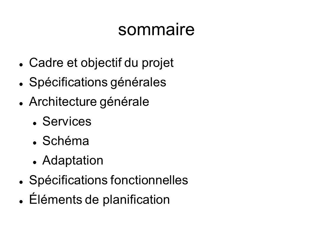 sommaire Cadre et objectif du projet Spécifications générales Architecture générale Services Schéma Adaptation Spécifications fonctionnelles Éléments