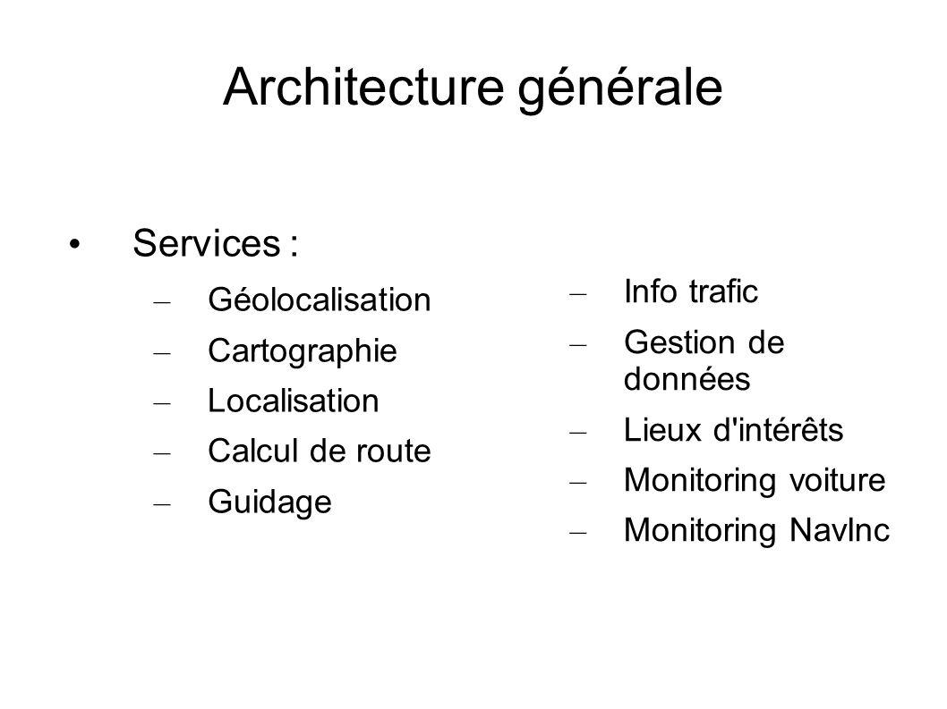 Services : – Géolocalisation – Cartographie – Localisation – Calcul de route – Guidage – Info trafic – Gestion de données – Lieux d'intérêts – Monitor