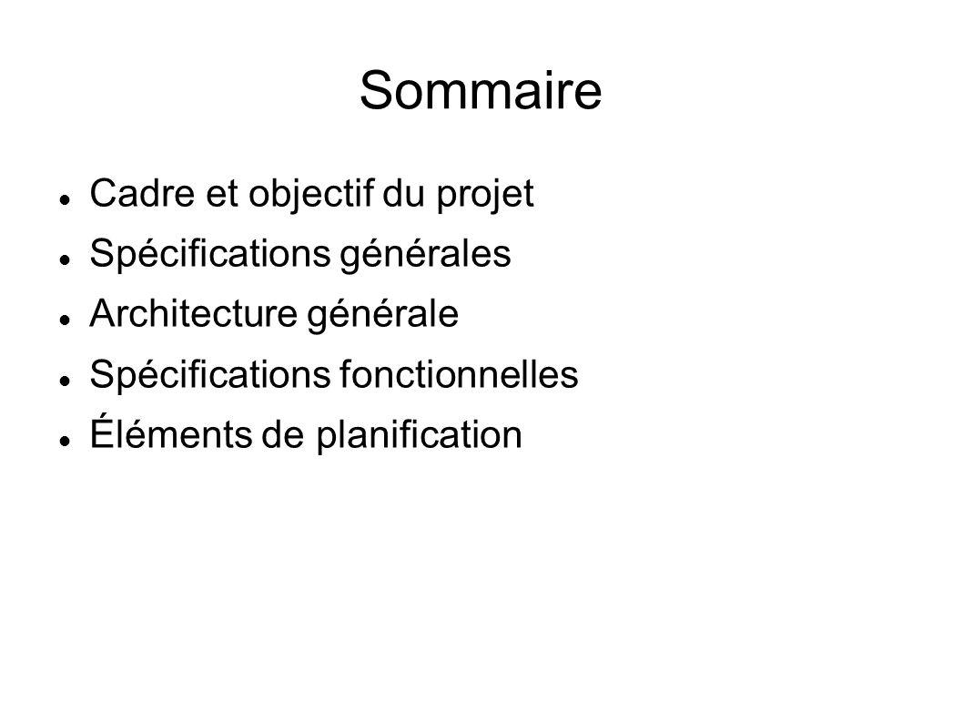 Sommaire Cadre et objectif du projet Spécifications générales Architecture générale Spécifications fonctionnelles Éléments de planification