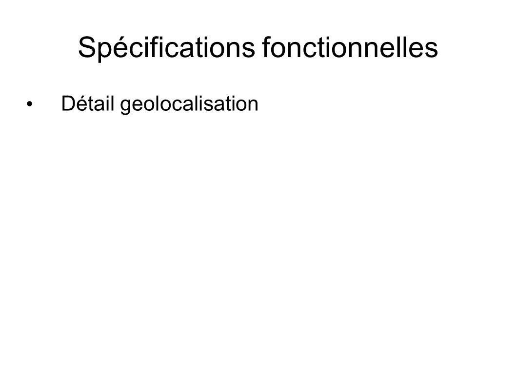 Spécifications fonctionnelles Détail geolocalisation