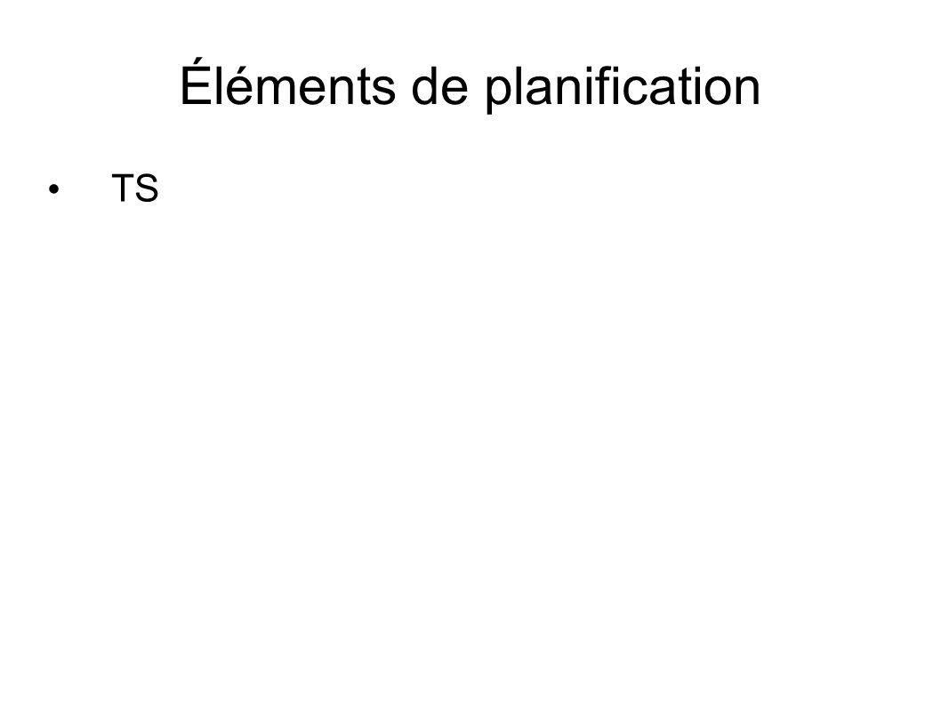 Éléments de planification TS