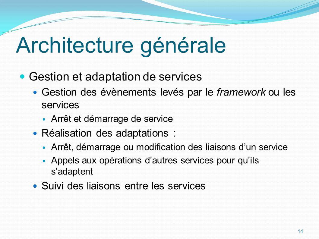 Gestion et adaptation de services Gestion des évènements levés par le framework ou les services Arrêt et démarrage de service Réalisation des adaptati