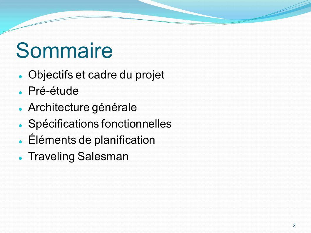 Objectifs et cadre du projet Pré-étude Architecture générale Spécifications fonctionnelles Éléments de planification Traveling Salesman 2 Sommaire