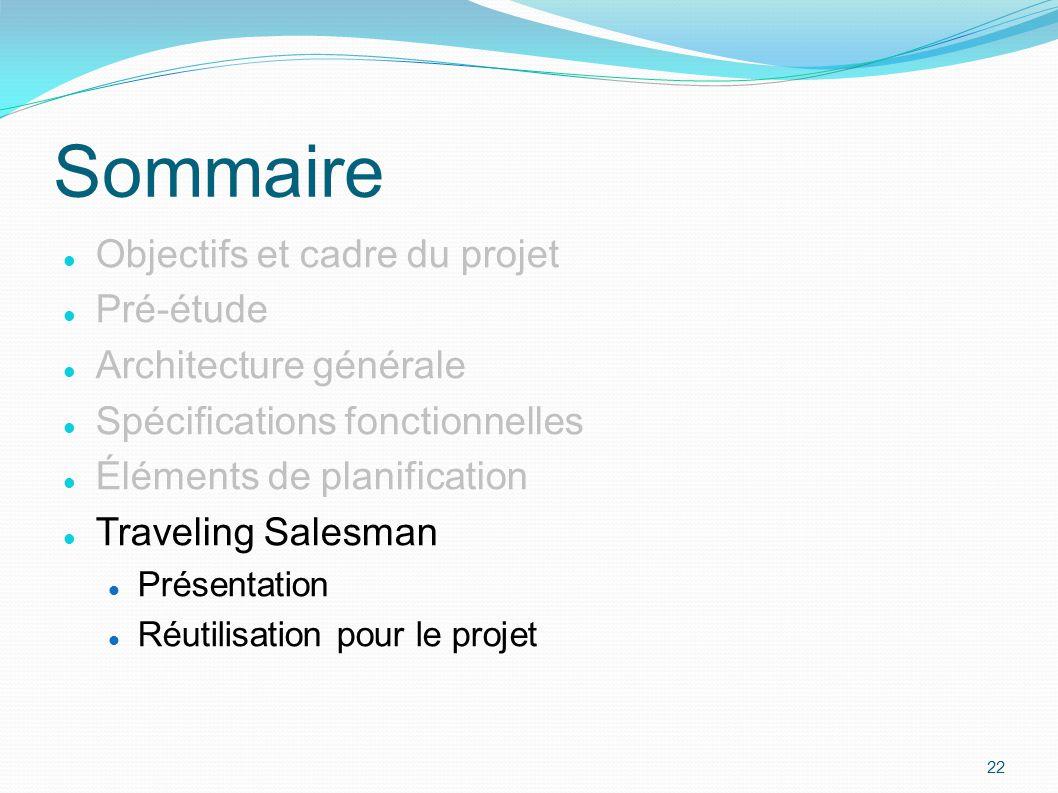 Objectifs et cadre du projet Pré-étude Architecture générale Spécifications fonctionnelles Éléments de planification Traveling Salesman Présentation R