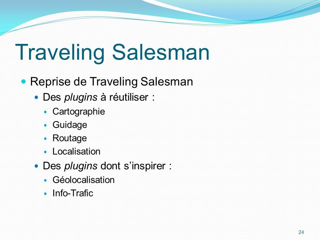 Reprise de Traveling Salesman Des plugins à réutiliser : Cartographie Guidage Routage Localisation Des plugins dont s'inspirer : Géolocalisation Info-