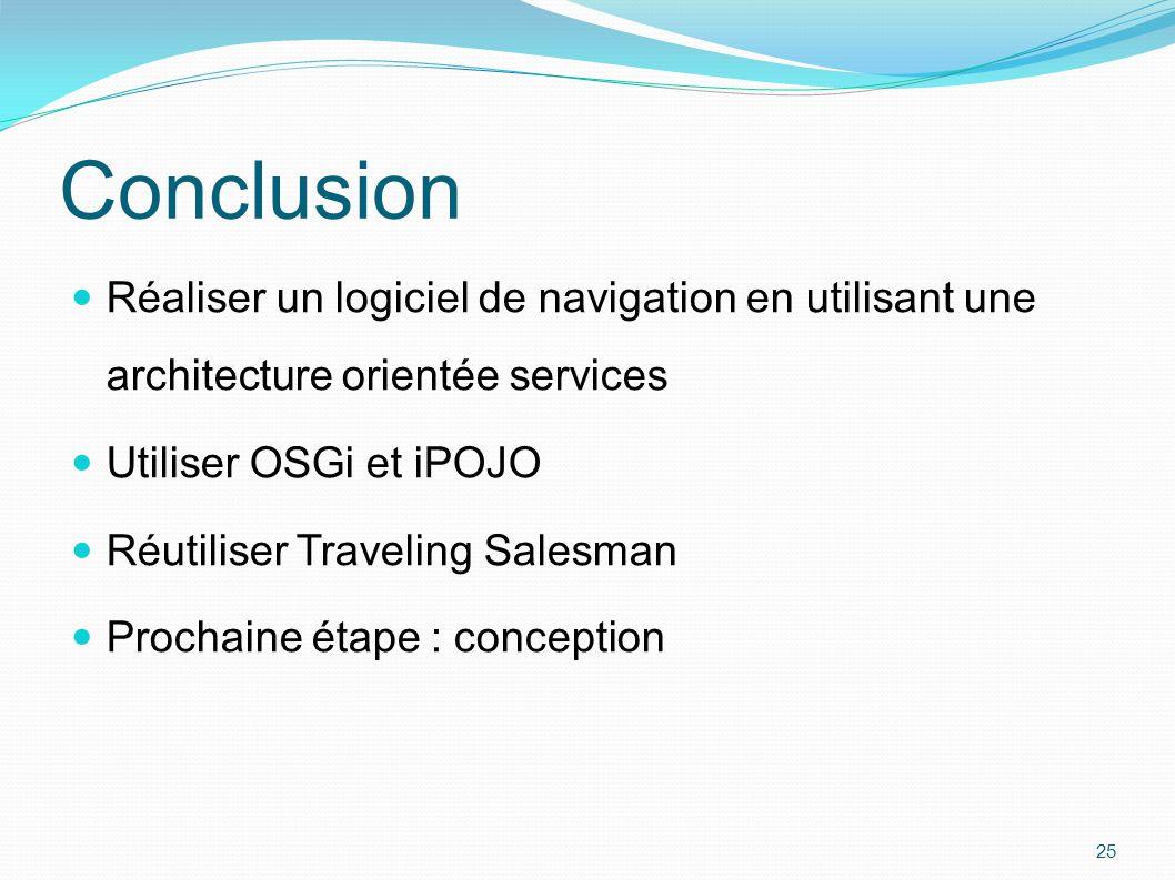 Conclusion Réaliser un logiciel de navigation en utilisant une architecture orientée services Utiliser OSGi et iPOJO Réutiliser Traveling Salesman Pro