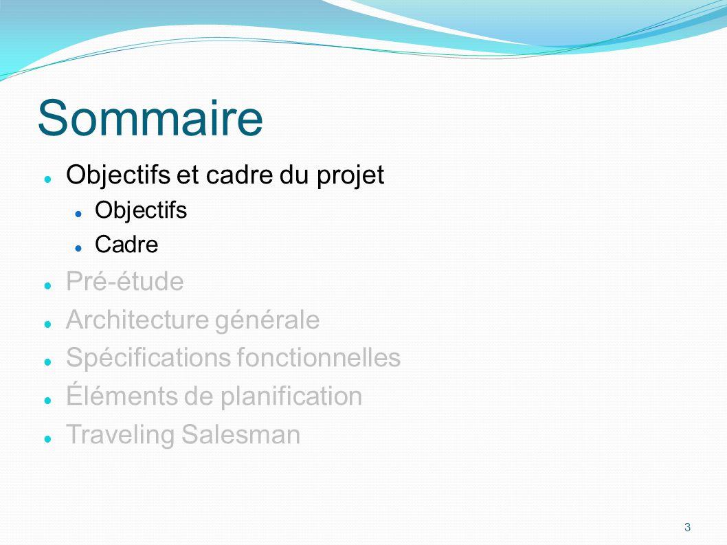 Objectifs et cadre du projet Objectifs Cadre Pré-étude Architecture générale Spécifications fonctionnelles Éléments de planification Traveling Salesma
