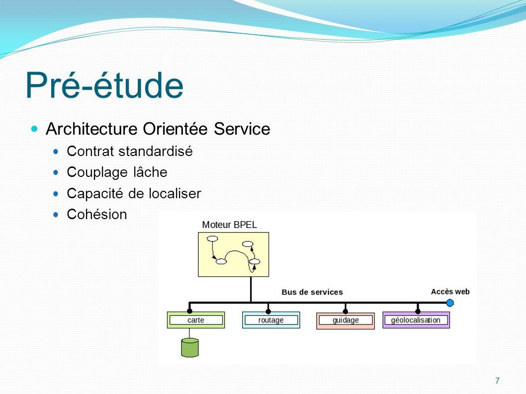 Architecture Orientée Service Contrat standardisé Couplage lâche Capacité de localiser Cohésion 7 Pré-étude