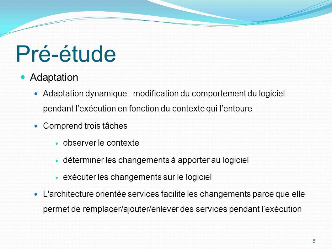 Adaptation Adaptation dynamique : modification du comportement du logiciel pendant l'exécution en fonction du contexte qui l'entoure Comprend trois tâ