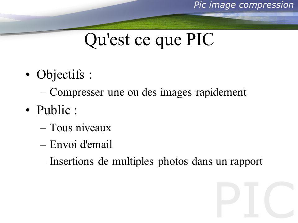 Qu est ce que PIC Objectifs : –Compresser une ou des images rapidement Public : –Tous niveaux –Envoi d email –Insertions de multiples photos dans un rapport