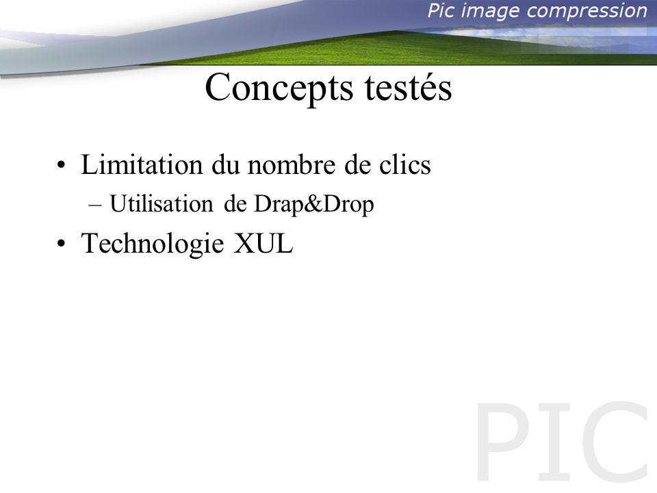 Concepts testés Limitation du nombre de clics –Utilisation de Drap&Drop Technologie XUL