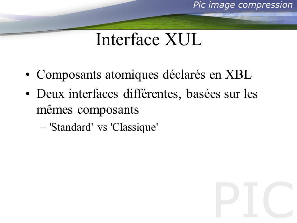 Interface XUL Composants atomiques déclarés en XBL Deux interfaces différentes, basées sur les mêmes composants – Standard vs Classique