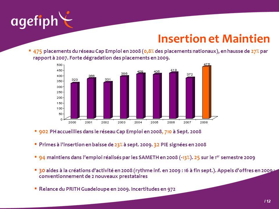 / 12 Insertion et Maintien  475 placements du réseau Cap Emploi en 2008 (0,8% des placements nationaux), en hausse de 27% par rapport à 2007. Forte d