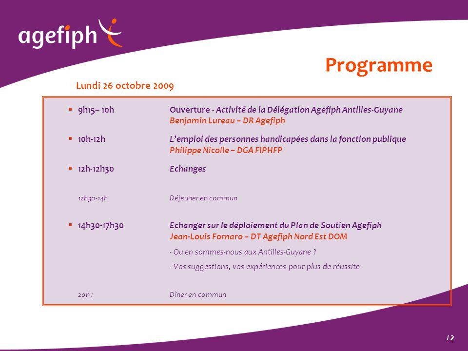 / 2 Programme Lundi 26 octobre 2009  9h15– 10hOuverture - Activité de la Délégation Agefiph Antilles-Guyane Benjamin Lureau – DR Agefiph  10h-12hL'e
