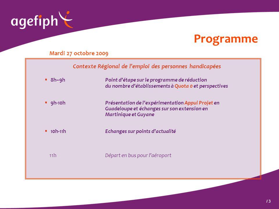 / 3 Programme Mardi 27 octobre 2009 Contexte Régional de l'emploi des personnes handicapées  8h–9h Point d'étape sur le programme de réduction du nom