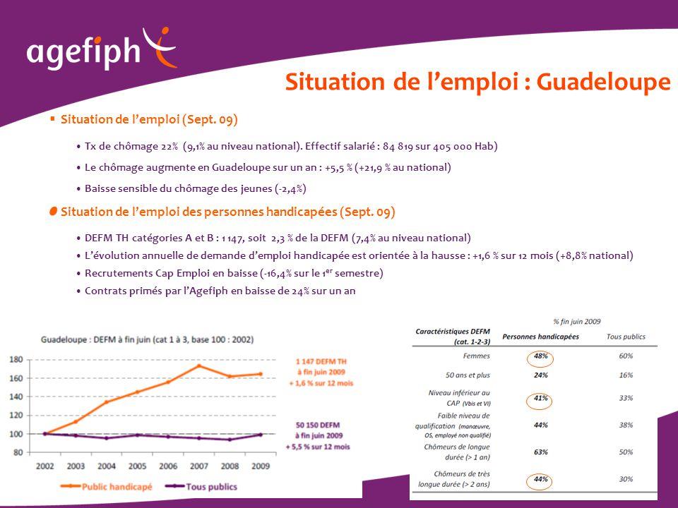 / 6 Situation de l'emploi : Guadeloupe  Situation de l'emploi (Sept. 09) Tx de chômage 22% (9,1% au niveau national). Effectif salarié : 84 819 sur 4