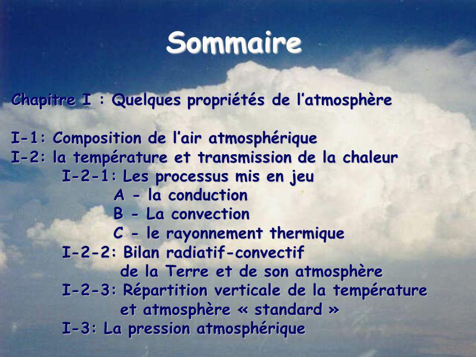 Sommaire Chapitre I : Quelques propriétés de l'atmosphère I-1: Composition de l'air atmosphérique I-2: la température et transmission de la chaleur I-2-1: Les processus mis en jeu A - la conduction B - La convection C - le rayonnement thermique I-2-2: Bilan radiatif-convectif de la Terre et de son atmosphère de la Terre et de son atmosphère I-2-3: Répartition verticale de la température et atmosphère « standard » et atmosphère « standard » I-3: La pression atmosphérique