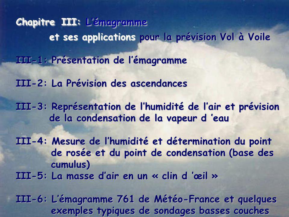 Chapitre III: L'émagramme et ses applications pour la prévision Vol à Voile et ses applications pour la prévision Vol à Voile III-1: Présentation de l'émagramme III-2: La Prévision des ascendances III-3: Représentation de l'humidité de l'air et prévision de la condensation de la vapeur d 'eau de la condensation de la vapeur d 'eau III-4: Mesure de l'humidité et détermination du point de rosée et du point de condensation (base des de rosée et du point de condensation (base des cumulus) cumulus) III-5: La masse d'air en un « clin d 'œil » III-6: L'émagramme 761 de Météo-France et quelques exemples typiques de sondages basses couches exemples typiques de sondages basses couches
