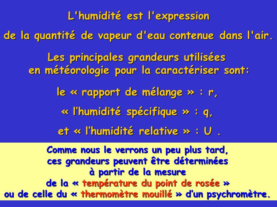 14 Les principales grandeurs utilisées en météorologie pour la caractériser sont: et « l'humidité relative » : U.