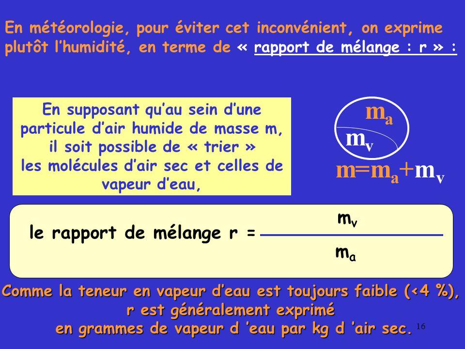 16 le rapport de mélange r = m v m a on définit le rapport de mélange r comme la masse m v de vapeur d 'eau rapportée à la masse m a de l 'air contenue dans cette particule d 'air humide, de masse totale m = m a +m v.