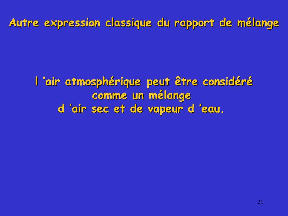 21 l 'air atmosphérique peut être considéré comme un mélange d 'air sec et de vapeur d 'eau.