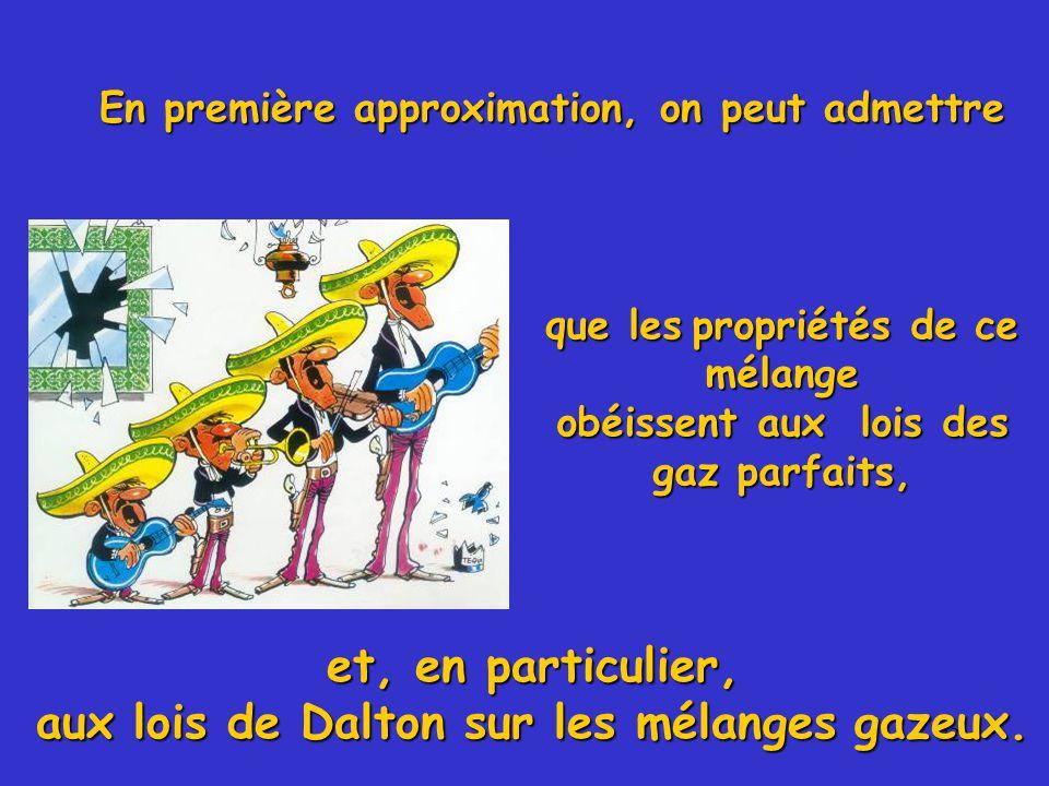 22 En première approximation, on peut admettre que les propriétés de ce mélange obéissent aux lois des gaz parfaits, et, en particulier, aux lois de Dalton sur les mélanges gazeux.