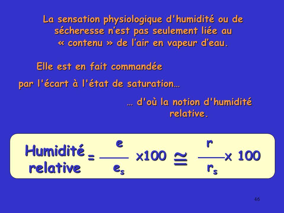 46 La sensation physiologique d humidité ou de sécheresse n'est pas seulement liée au « contenu » de l'air en vapeur d'eau.