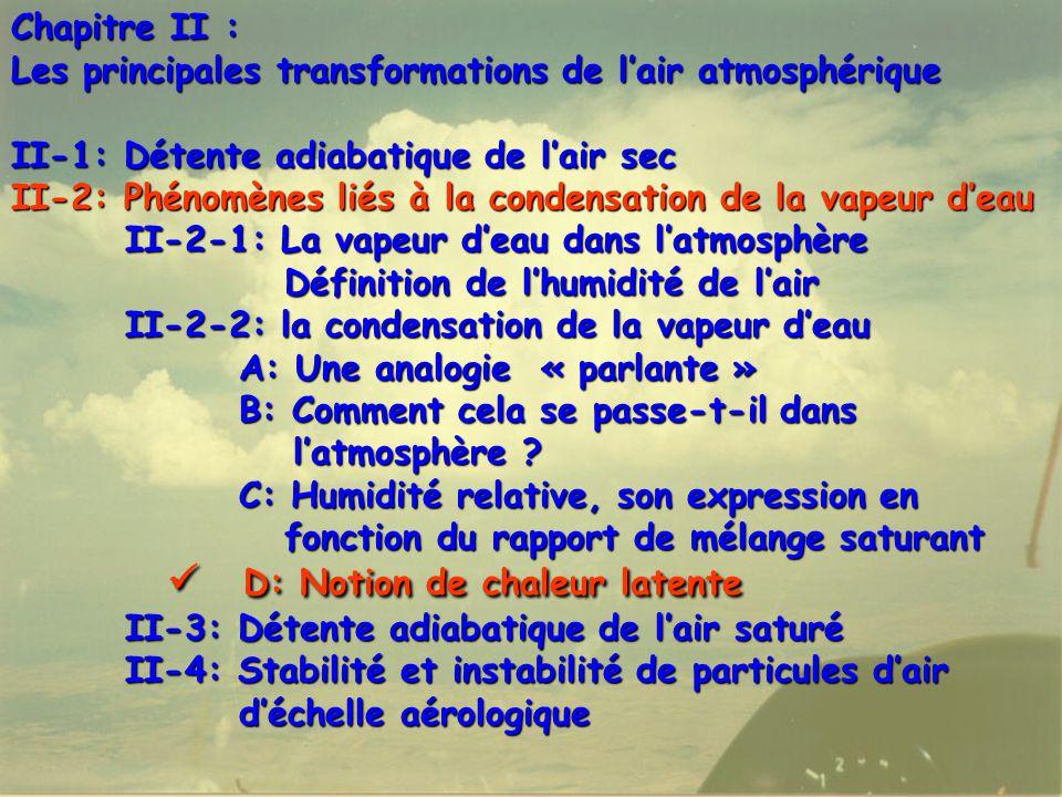 51 Chapitre II : Les principales transformations de l'air atmosphérique II-1: Détente adiabatique de l'air sec II-2: Phénomènes liés à la condensation de la vapeur d'eau II-2-1: La vapeur d'eau dans l'atmosphère Définition de l'humidité de l'air Définition de l'humidité de l'air II-2-2: la condensation de la vapeur d'eau A: Une analogie « parlante » B: Comment cela se passe-t-il dans l'atmosphère .
