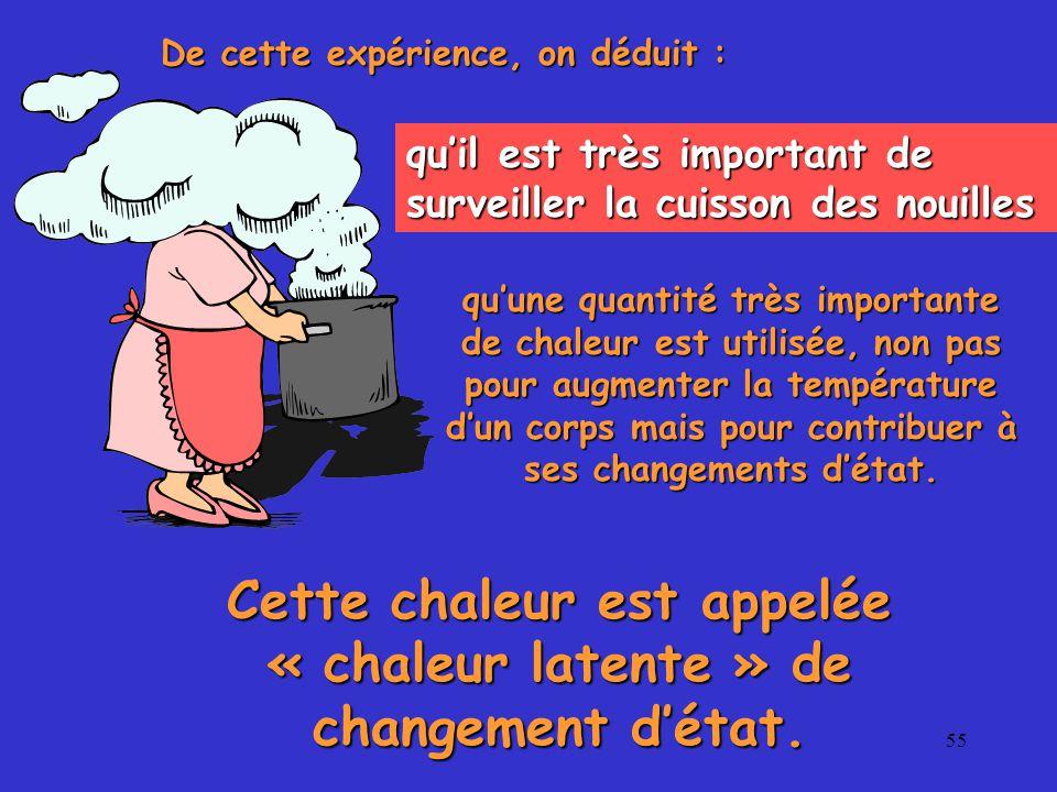 55 De cette expérience, on déduit : qu'il est très important de surveiller la cuisson des nouilles qu'une quantité très importante de chaleur est utilisée, non pas pour augmenter la température d'un corps mais pour contribuer à ses changements d'état.