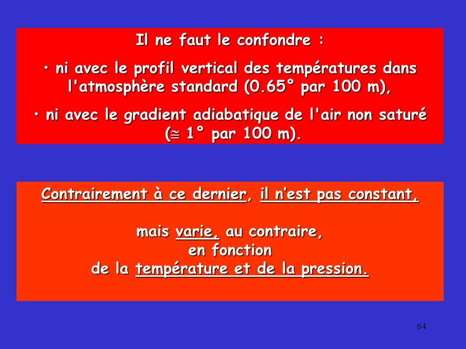 64 Il ne faut le confondre : ni avec le profil vertical des températures dans l atmosphère standard (0.65° par 100 m), ni avec le profil vertical des températures dans l atmosphère standard (0.65° par 100 m), ni avec le gradient adiabatique de l air non saturé ni avec le gradient adiabatique de l air non saturé (  1° par 100 m).