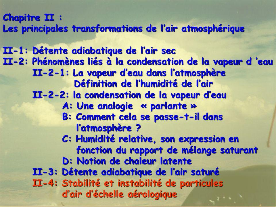 68 Chapitre II : Les principales transformations de l'air atmosphérique II-1: Détente adiabatique de l'air sec II-2: Phénomènes liés à la condensation de la vapeur d 'eau II-2-1: La vapeur d'eau dans l'atmosphère Définition de l'humidité de l'air Définition de l'humidité de l'air II-2-2: la condensation de la vapeur d'eau A: Une analogie « parlante » B: Comment cela se passe-t-il dans l'atmosphère .