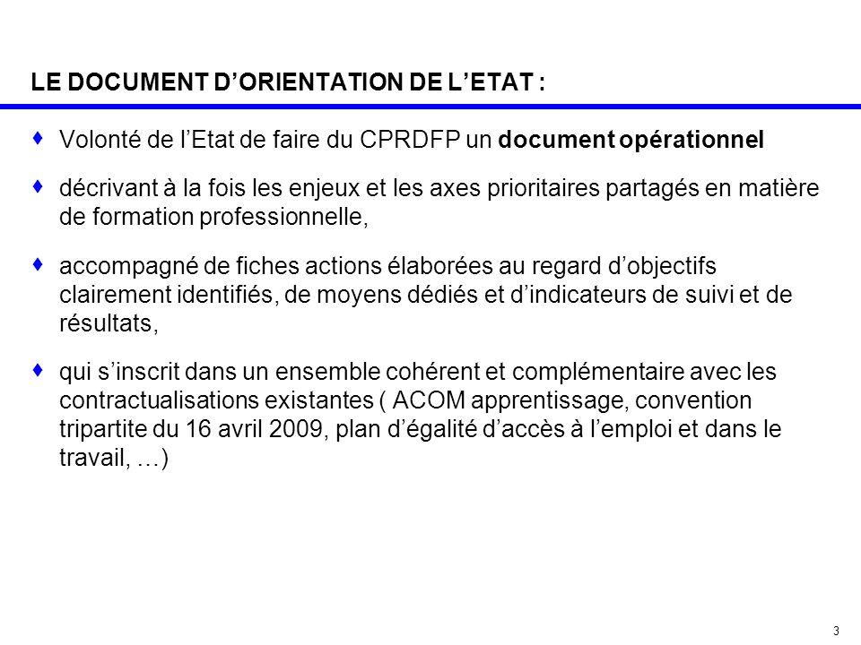 3 LE DOCUMENT D'ORIENTATION DE L'ETAT :  Volonté de l'Etat de faire du CPRDFP un document opérationnel  décrivant à la fois les enjeux et les axes p