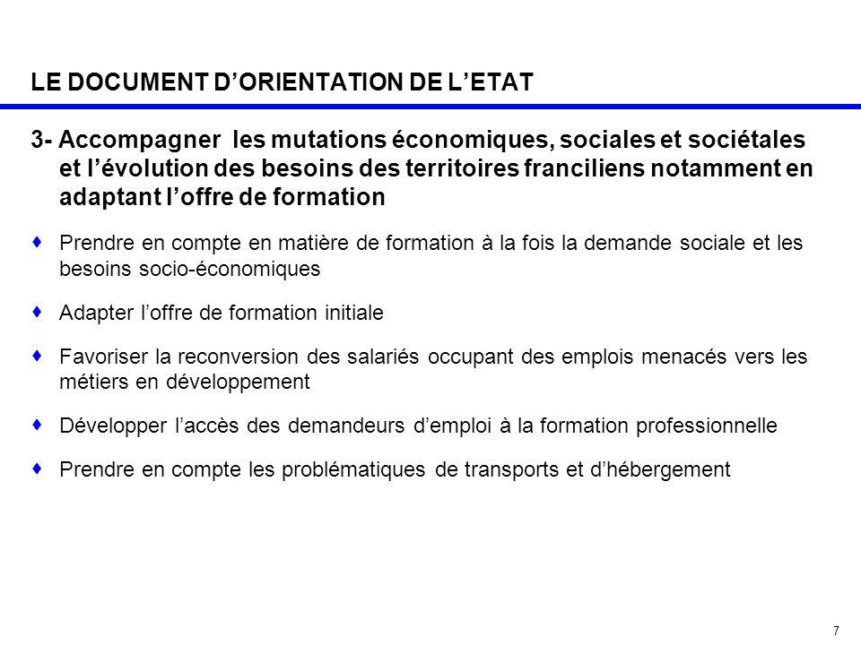 7 LE DOCUMENT D'ORIENTATION DE L'ETAT 3- Accompagner les mutations économiques, sociales et sociétales et l'évolution des besoins des territoires fran