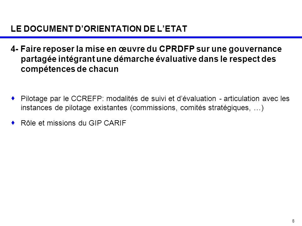 8 LE DOCUMENT D'ORIENTATION DE L'ETAT 4- Faire reposer la mise en œuvre du CPRDFP sur une gouvernance partagée intégrant une démarche évaluative dans