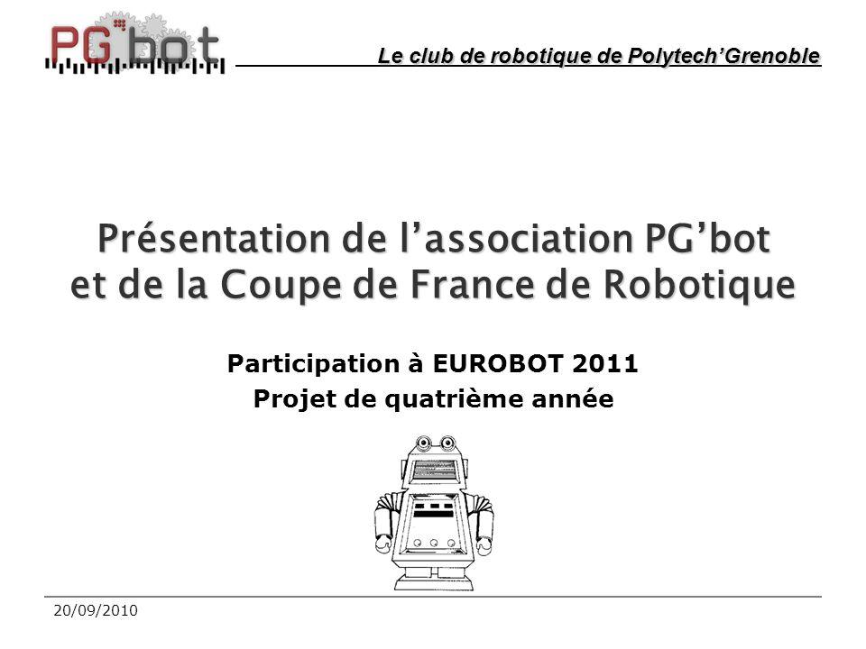 20/09/2010 Présentation de l'association PG'bot et de la Coupe de France de Robotique Participation à EUROBOT 2011 Projet de quatrième année Le club de robotique de Polytech'Grenoble