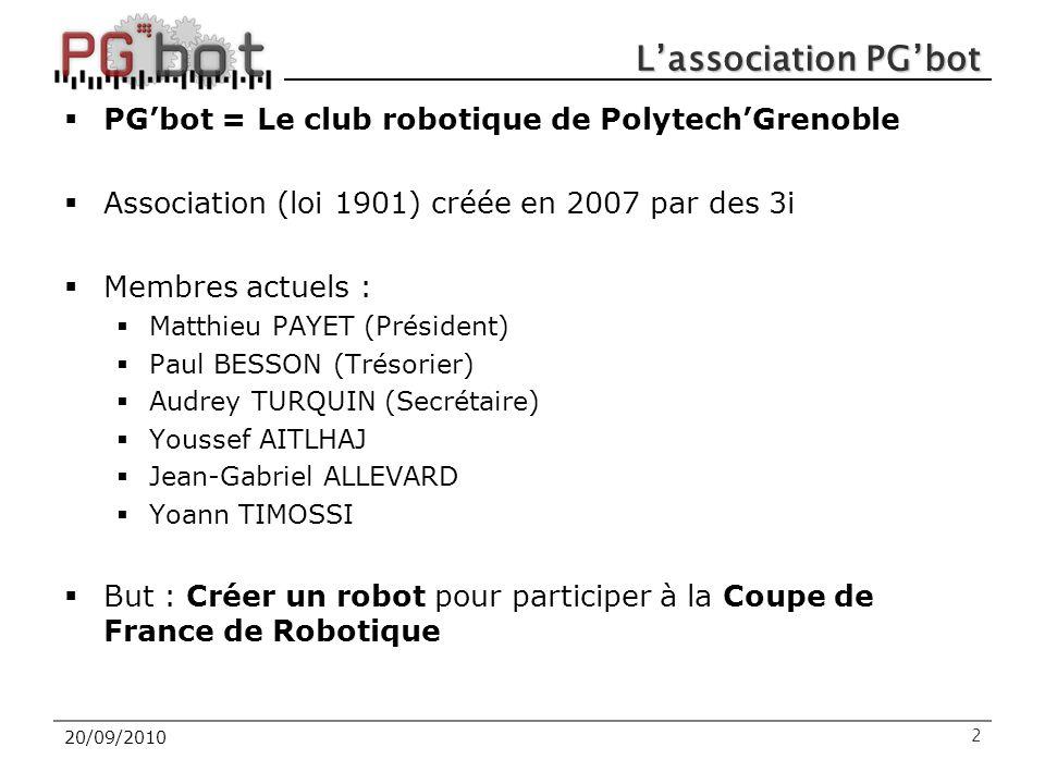 20/09/2010 L'association PG'bot  PG'bot = Le club robotique de Polytech'Grenoble  Association (loi 1901) créée en 2007 par des 3i  Membres actuels :  Matthieu PAYET (Président)  Paul BESSON (Trésorier)  Audrey TURQUIN (Secrétaire)  Youssef AITLHAJ  Jean-Gabriel ALLEVARD  Yoann TIMOSSI  But : Créer un robot pour participer à la Coupe de France de Robotique 2