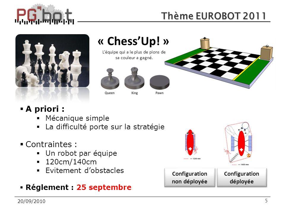 20/09/2010 Thème EUROBOT 2011 5 « Chess'Up! » L'équipe qui a le plus de pions de sa couleur a gagné. Configuration non déployée Configuration déployée