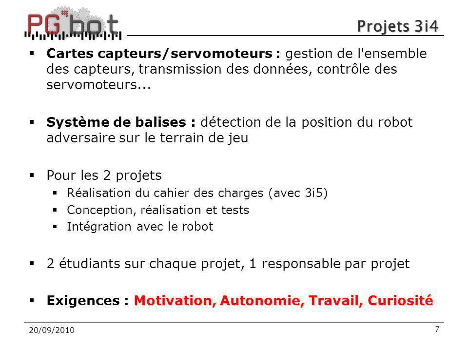 20/09/2010 Projets 3i4  Cartes capteurs/servomoteurs : gestion de l'ensemble des capteurs, transmission des données, contrôle des servomoteurs...  S