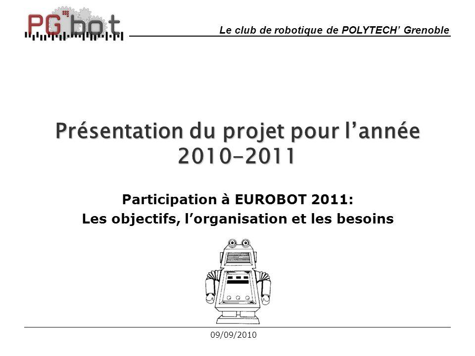 Plan 1.Bilan EUROBOT 2010 2.Problèmes rencontrés 3.Thème EUROBOT 2011 4.Organisation du bureau 5.Fonctionnement de l'équipe 6.Architecture envisagée 7.Répartition des taches 8.Gantt prévisionnel 9.Sponsors 10.Financement 209/09/2010
