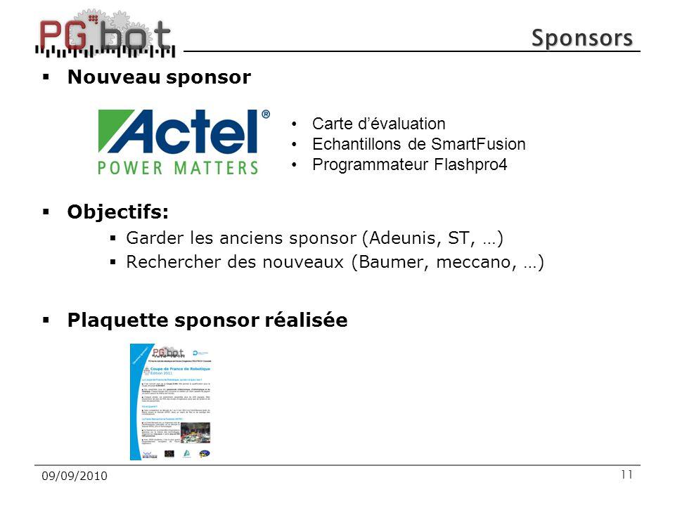 Sponsors  Nouveau sponsor  Objectifs:  Garder les anciens sponsor (Adeunis, ST, …)  Rechercher des nouveaux (Baumer, meccano, …)  Plaquette spons
