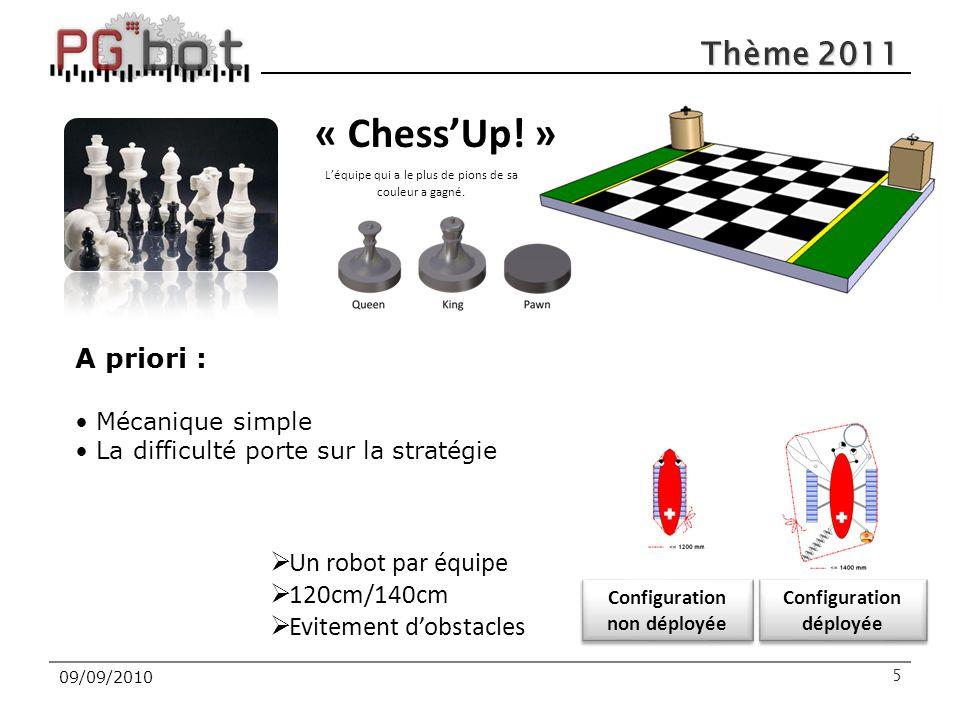 Thème 2011 509/09/2010 « Chess'Up! » L'équipe qui a le plus de pions de sa couleur a gagné. Configuration non déployée Configuration déployée  Un rob