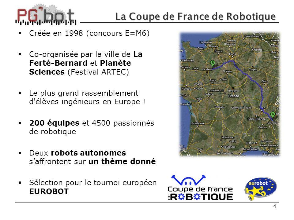 4 La Coupe de France de Robotique  Créée en 1998 (concours E=M6)  Co-organisée par la ville de La Ferté-Bernard et Planète Sciences (Festival ARTEC)  Le plus grand rassemblement d élèves ingénieurs en Europe .