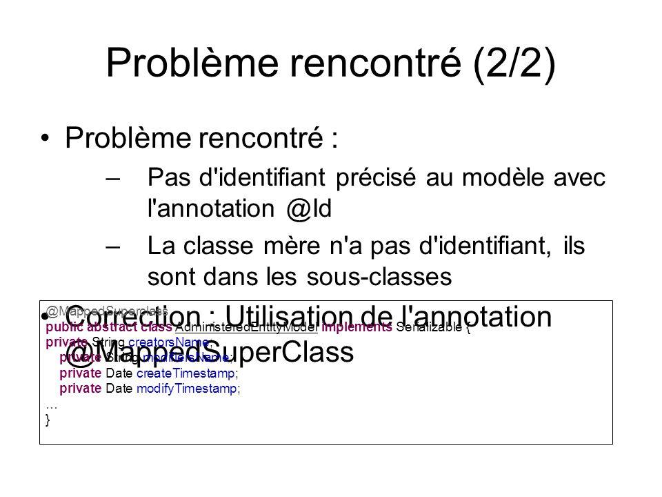 Problème rencontré (2/2) Problème rencontré : –Pas d'identifiant précisé au modèle avec l'annotation @Id –La classe mère n'a pas d'identifiant, ils so