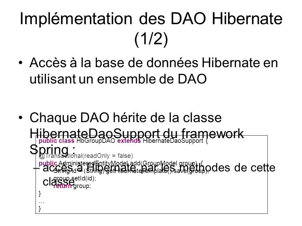 Implémentation des DAO Hibernate (1/2) Accès à la base de données Hibernate en utilisant un ensemble de DAO Chaque DAO hérite de la classe HibernateDa