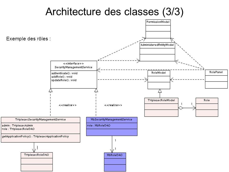Exemple des rôles : Architecture des classes (3/3)
