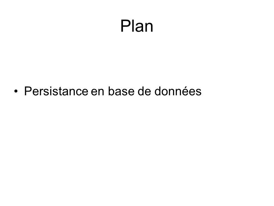 Plan Persistance en base de données