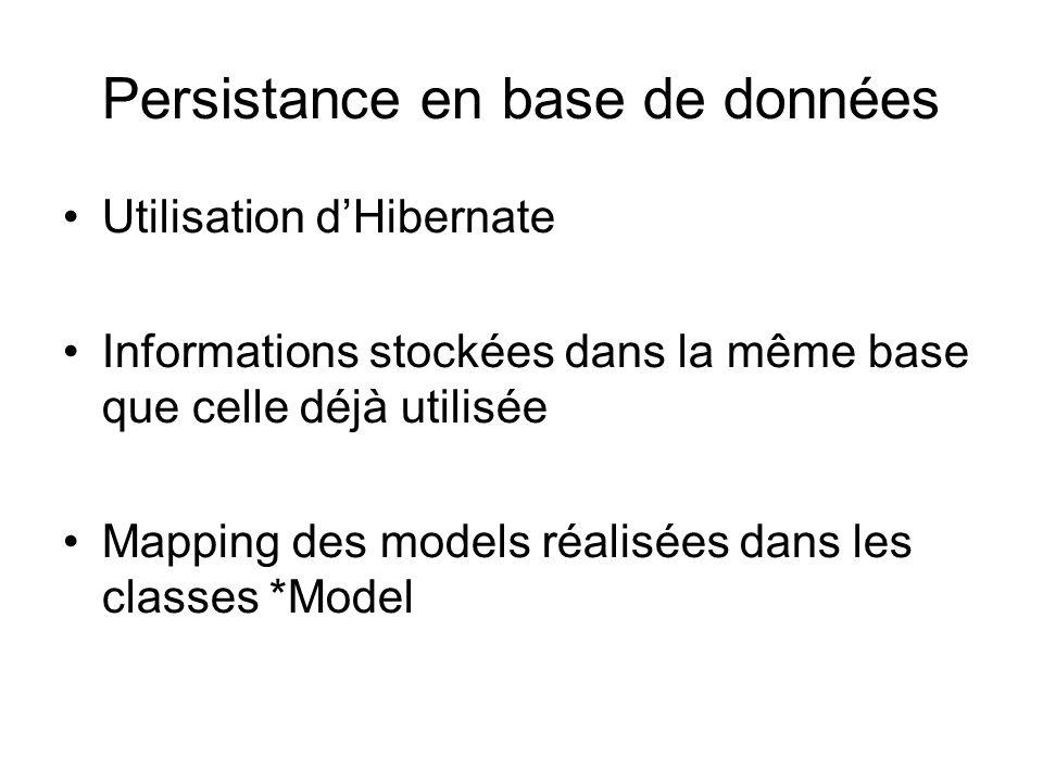 Utilisation d'Hibernate Informations stockées dans la même base que celle déjà utilisée Mapping des models réalisées dans les classes *Model