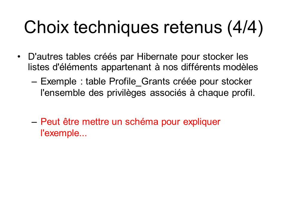 Choix techniques retenus (4/4) D'autres tables créés par Hibernate pour stocker les listes d'éléments appartenant à nos différents modèles –Exemple :