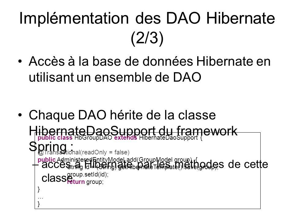Implémentation des DAO Hibernate (2/3) Accès à la base de données Hibernate en utilisant un ensemble de DAO Chaque DAO hérite de la classe HibernateDa